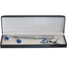 Crystal Round Blue Silver Tie Pin and Cufflinks Gift Set