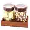 Set of 2 Chocolates and Nutties Air Tight Containers with Wooden Tray with Pearl Rakhi